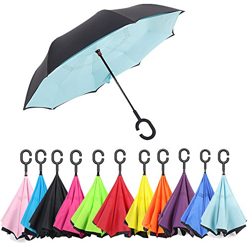 Aweoods Inverted Umbrella Windproof Reversible Umbrella(Tiffany - Blue Tiffany And Black