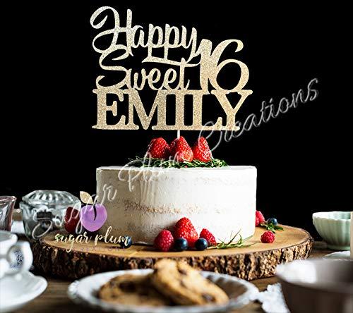 Personalized Happy Sweet 16 Birthday Cake Topper, Custom Sweet 16 ()