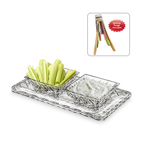 Exquisite Crystal Cut Candy, Veggie, and Dip Dish - Two Square Removable Section Bowls on Rectangular (Fiesta Round Chip Dip Tray)