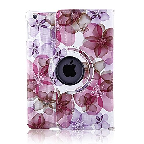 TOPCHANCES 360 Degrees Rotating Stand Luxury PU Leather Case for iPad Air/iPad 5(A1219) with Smart Cover Wake/Sleep Function (Pink Lucky Flower) by TOPCHANCES (Image #3)