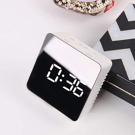 RENQIAN Espejo Led Reloj Despertador Reloj De Mesa con Repetición ...