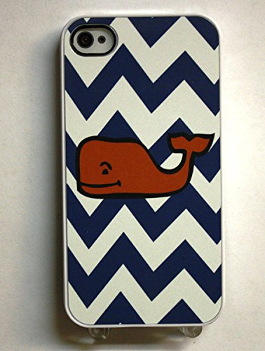 (209wi4) Blue Zigzags with Red Whale Cute Apple iPhone 4 / 4S White Case