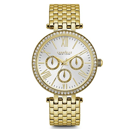 Caravelle New York Women's 44N109  Swarovski Crystal Gold Tone Watch - Panther Link Watch
