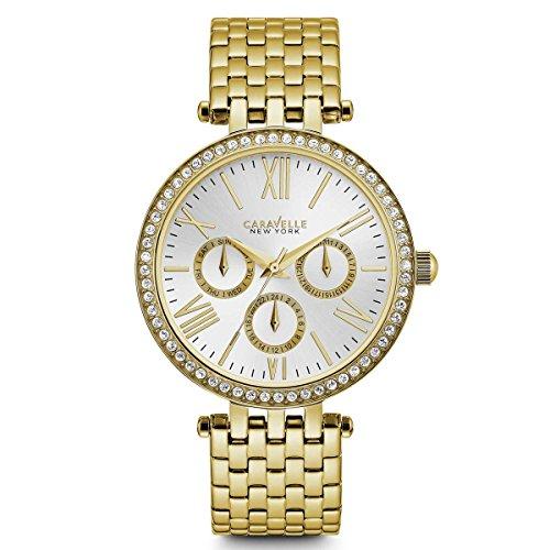 (Caravelle New York Women's 44N109  Swarovski Crystal Gold Tone Watch )
