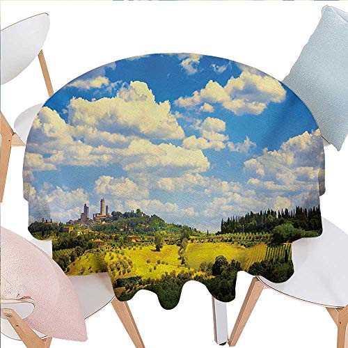 Italian Washable Round Tablecloth Old Italian Village Scenery with Meadows and Clouds Mediterranean Rural Print Waterproof Round Tablecloths D54 Green Blue -