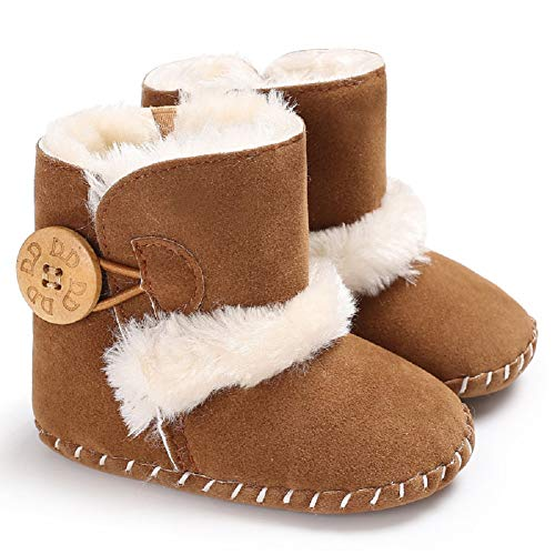 Fnnetiana Baby Winter Buttons Snow Boots Warm Shoes Anti-Skid Plush Ankle Booties Newborn Infant Crib Boots (12-18 Months, Brown) ()