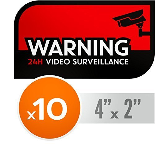 UV Resistant, NO Fade Security CCTV Warning Stickers - 24h Video Surveillance Decals