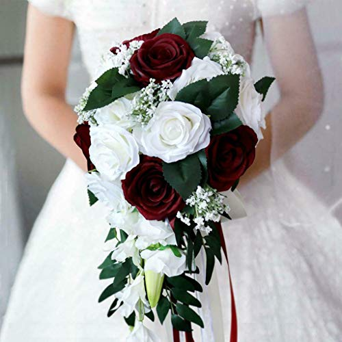 - BROSCO Realistic Wedding Bride Bouquet Hand Tied Flower Decor Holiday Party Supply | Color - White + Wine Red