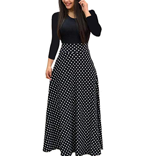 Aublary Women's Floral Maxi Dresses Long Sleeve Fitted Beach Party Long Dress, Polka Dots 2XL