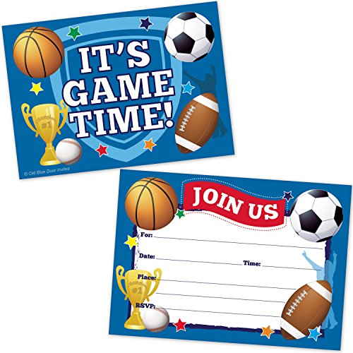 Feet Invitations (Sports Birthday Party Invitations - Football, Basketball, Soccer, Baseball, Trophy Design - (20 Count with Envelopes))