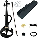 Kinglos 4/4 Black Grid Colored Solid Wood Intermediate-A Electric / Silent Violin Kit with Ebony Fittings Full Size (DSZA1311)