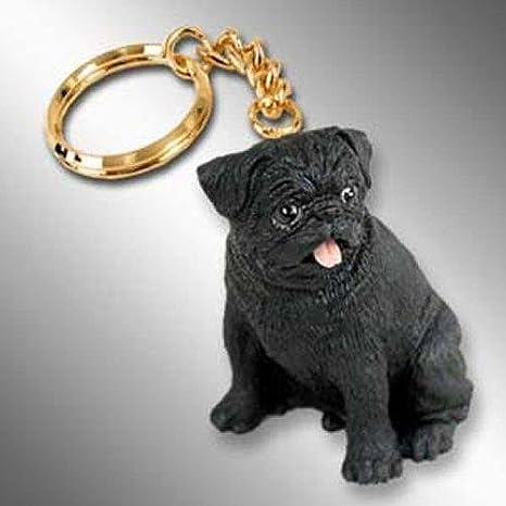 Amazon.com: Carlino, color negro Tiny Ones perro Keychains ...
