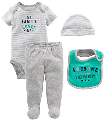 Simple Joys by Carter's Baby Boys' 4-Piece Bodysuit, Pant, Bib and Cap Set, Grey Family Loves Me, 3-6 Months