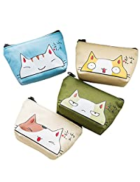 Oyachic 4 pcs Canvas Coin Purse Zipper Change Pouch Mini Wallet Gift for Women and Girls (Lovely Cat)