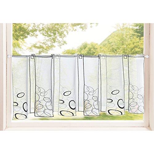Transparente Scheibengardine aus Voile , 40x120, Ada, luftiger Voile mit gesticktem Muster, 42002