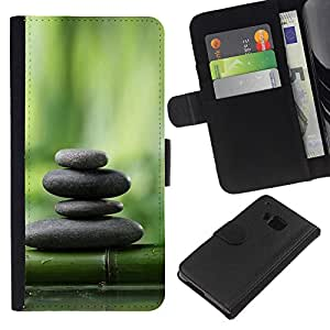All Phone Most Case / Oferta Especial Cáscara Funda de cuero Monedero Cubierta de proteccion Caso / Wallet Case for HTC One M9 // Bamboo Green Forest Stones Plant Nature