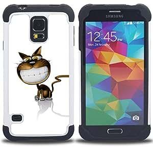 For Samsung Galaxy S5 I9600 G9009 G9008V - Cat Cartoon Comic Big Smile White Teeth Art /[Hybrid 3 en 1 Impacto resistente a prueba de golpes de protecci????n] de silicona y pl????stico Def/ - Super Marle
