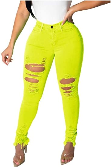 Tootess Womens Solid Color Sexy Skinny Hipster Ripped-Holes Pencil Pants Jeans Trousers