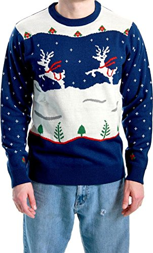 Ugly Christmas Sweater Step Brothers Dale Doback Prancing Reindeer Adult Navy Sweater (Adult Large)