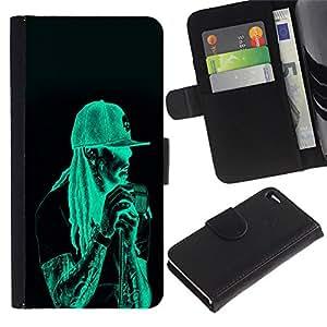 Ihec-Tech / Flip PU Cuero Cover Case para Apple Iphone 4 / 4S - Neon Rasta Guy