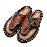 Autumn Melody Fashion Outdoor Casual Personalize Exquisite Handmade Genuine Leather Men's Sandals Size 8.5 US Brown