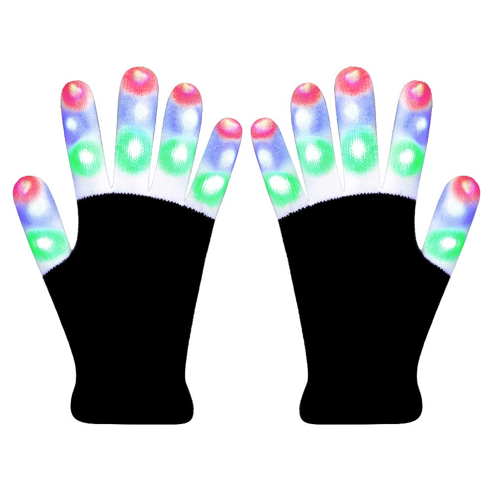 Hpory LED Gloves Light Up Gloves Finger Light Gloves for Kids Flashing Light Gloves 6 Modes for Halloween Christmas Birthday Party