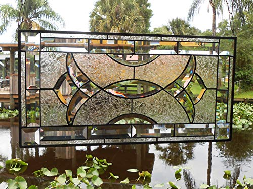 Transom Art Glass Window - Stained Glass Panel, Traditional Vintage Look Window Transom, Beveled Glass Valance, OOAK Crystal Window Treatment, Stained Glass Window