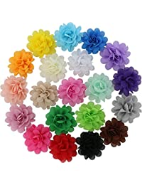 20 Colors Baby Girl Chiffon Flowers Lined Hair Bows Clips...