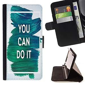 King Case - FOR Samsung Galaxy S6 EDGE - you can do it - Prima caja de la PU billetera de cuero con ranuras para tarjetas, efectivo Compartimiento desmontable y correa para la mu?eca