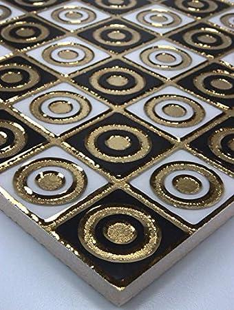 1 Matte Wandfliesen Fliesen Keramik Glanzend Glasiert Gold Weiss