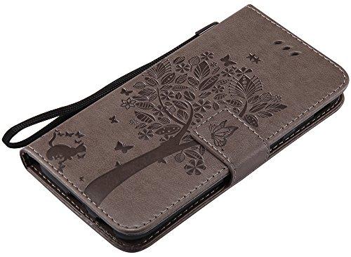 Samsung Galaxy J3 2017 Hülle Europäische Version(5,0Zoll) im Retro Wallet Design,Roreikes Leadertasche Premium Lederhülle Flip Case im Bookstyle Folio Cover Kartenfächer Magnetverschluss und Standfunk Grau