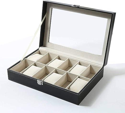 GOVD Caja Guardar Relojes con Tapa de Cristal Organizador de ...