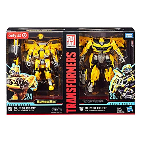 Transformers Studio Series 24 and 25 Deluxe Class Bumblebee 2-Pack Including 1967 Volkswagen Beetle Bumblebee Movie Version and 2016 Chevrolet Camaro The Last Knight Movie Version ()