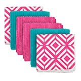 """DII Microfiber Multi-Purpose Cleaning Cloths  Perfect for Kitchens, Dishes, Car, Dusting, Drying Rags, 12 x 16"""", Set of 6 - Pink Diamond"""