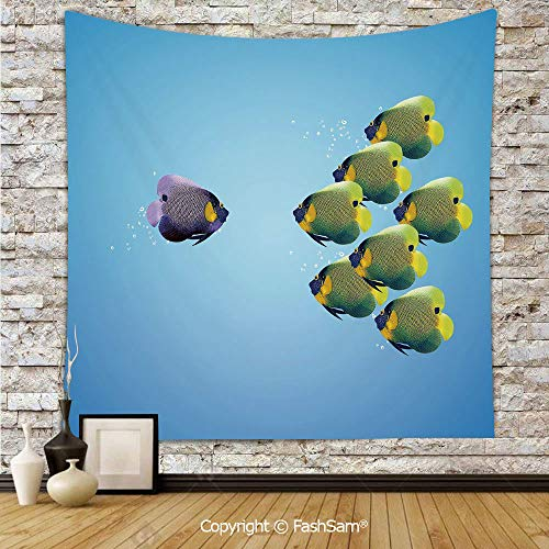 (FashSam Tapestry Wall Hanging Purple Angelfish Leading The Yellow Group Be Different Inspirational Decorative Tapestries Dorm Living Room Bedroom(W59xL90) )