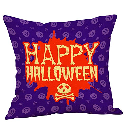 MaxFox Halloween Monster Skull Pumpkin Throw Pillow Cover Square Pillow Case Cushion for Office Home Room Car Decor (H) -