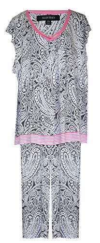 - ELLEN TRACY Paisley Print Crop Pant Lounge Set/Pajamas PJ's (Dark Grey White Pink Paisley Print, 2X)