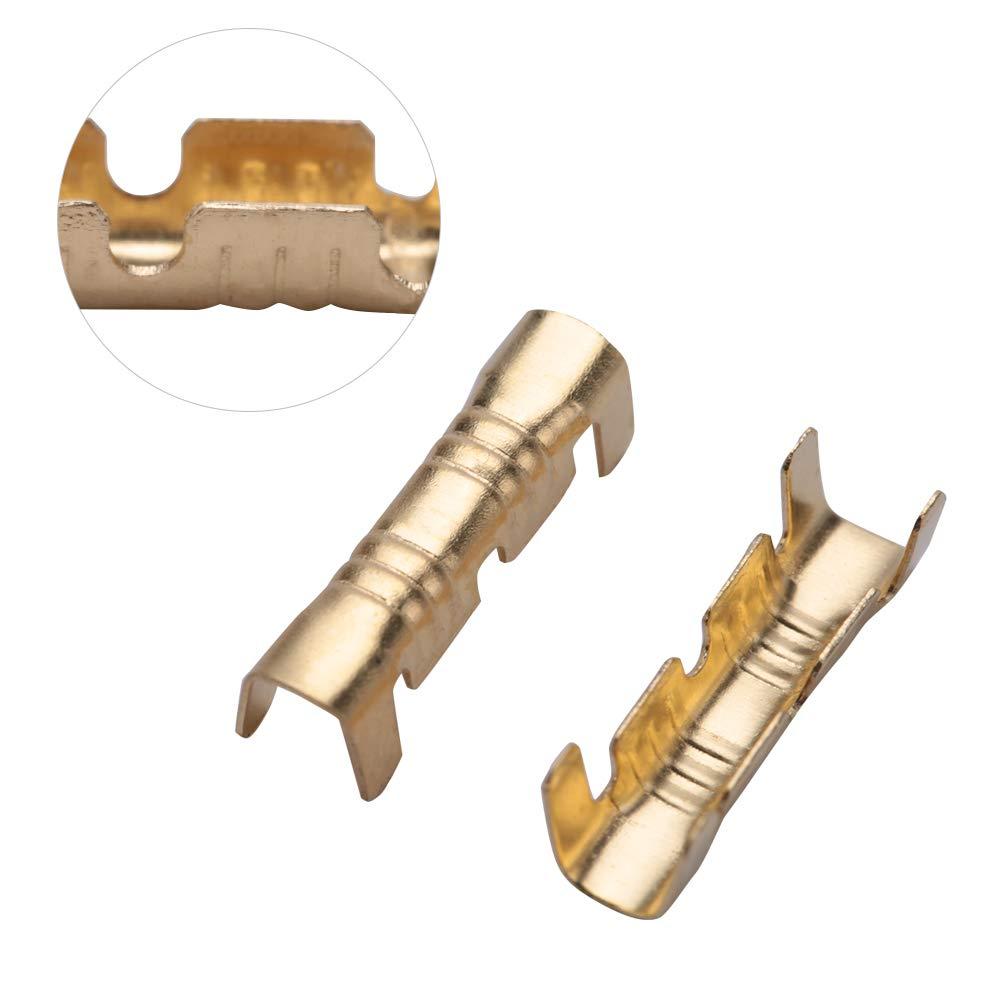Terminales de empalme r/ápido Conector de acoplamiento Terminales de cableado r/ápido Kit de crimpado Terminal de crimpado de lat/ón Compacto 100 piezas Terminal de cableado de lat/ón para
