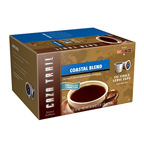Sumatra Blend Coffee - Caza Trail Coffee, Coastal Blend, 100 Single Serve Cups
