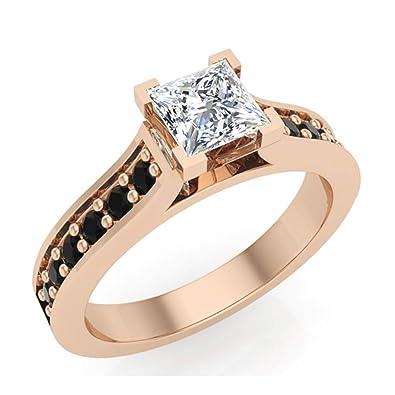 Black   White Princess Cut Engagement Ring 3 4 Carat Total Weight Diamond  14K Rose 060b8c1a2