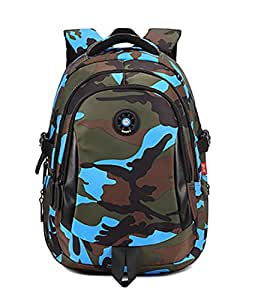 Onirii School backpack For Girls Boys Bookbags Outdoor Dayback Camo Small Blue
