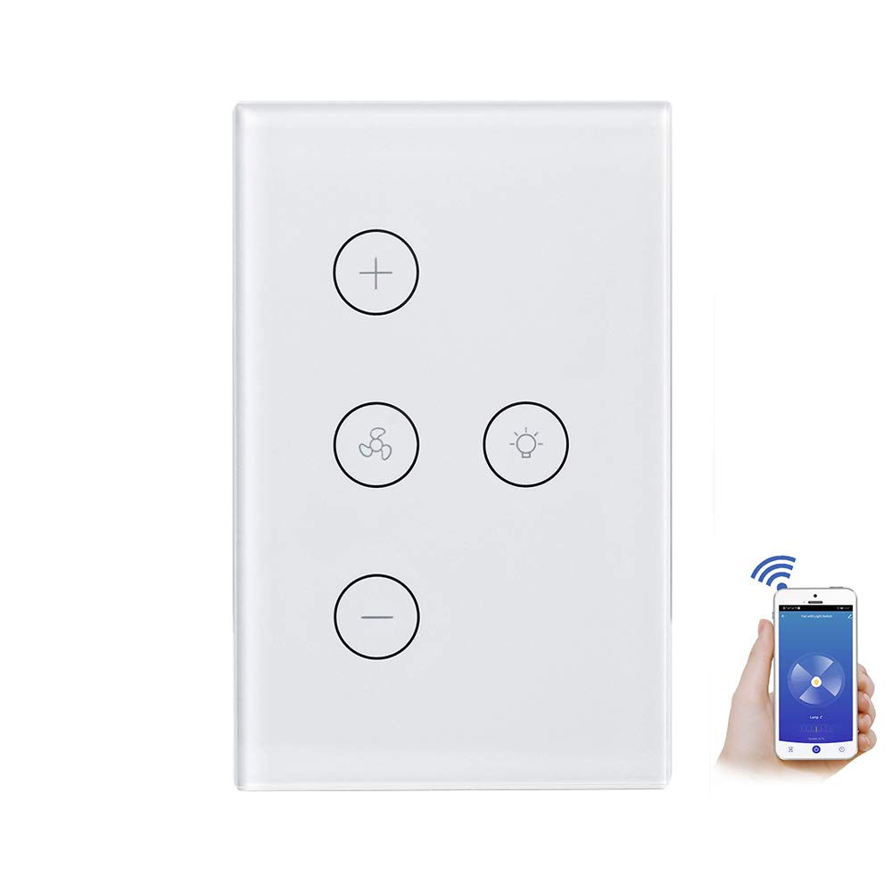 Smart WiFi Fan Light Switch, PCJHSP Wireless in-Wall Ceiling Fan Lamp Switch Touch Control APP Remote Control Timer Function Voice Control Compatible with Alexa Google Home IFTTT
