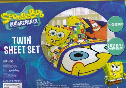 Spongebob Squarepants Scribble Sponge Twin Sheet Set Bedding