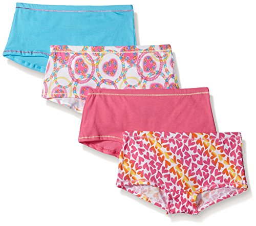 Hanes Ultimate Girls' 4-Pack Cotton Stretch Boy Short Panties, Assorted, 14