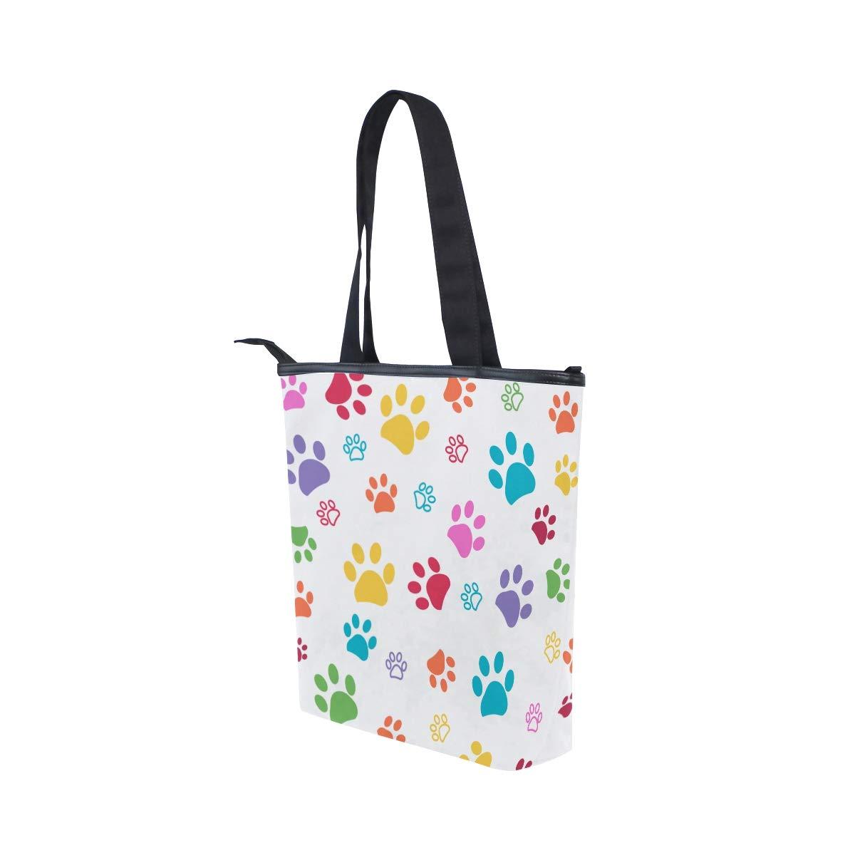 Canvas Top Handle Tote Bag Colorful Paws Shoulder Bag Handbag for Women
