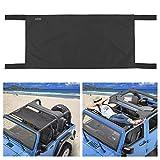 Seven Sparta Car Roof Hammock for Jeep Wrangler YJ, TJ, JK & JKU 1987-2018 4-Door and 2-Door, Waterproof Car Bed Rest Hammock (drak Black)