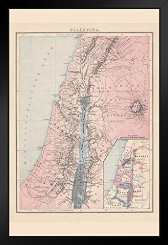 (Palestine with The Twelve Tribes of Israel Historical Antique Style Map Framed Poster 14x20 inch)