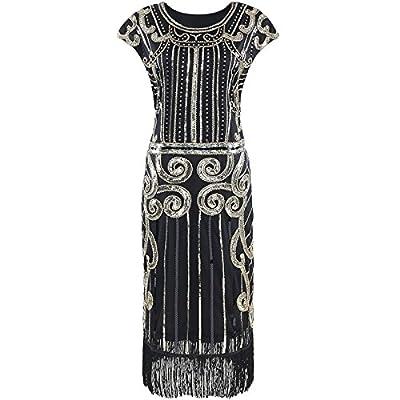 Heroecol Vintage 1920s Dress Retro Sequined Beaded Tassel Flapper Gatsy Inspired