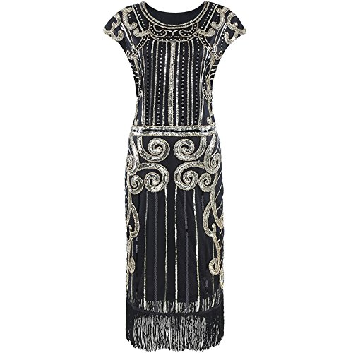 Heroecol Vintage 1920s Dress Retro Sequined Beaded Tassels Flapper Gatsy S GD - Tea Length Sequined Dress