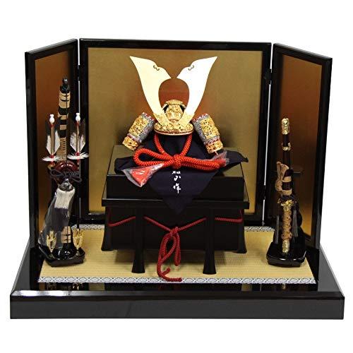 五月人形 兜 平飾り 竹雀之兜〔10号〕K23 雄山 金屏風 幅69cm [195to1139] B07Q2J3GQF